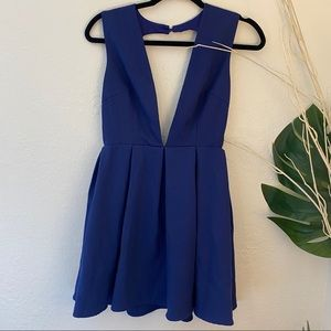 L'ATISTE Royal Blue Deep V Mini Dress